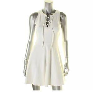 Aqua dress white ponte lace-up casual size XS